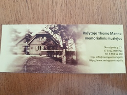 Lithuania Litauen  Ticket Museum Of Writer Thomas Mann In Nida - Tickets - Vouchers