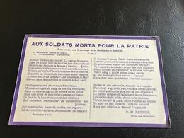 AUX SOLDATS MORTS POUR LA PATRIE Poesie Vendue Sous Le Patronage De La Municipalité D'ALBERTVILLE - Patriotiques