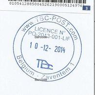 Afst. TBC-POST COM 10/12/2014 Op Lijst Aangetekende Zendingen - Marcophilie