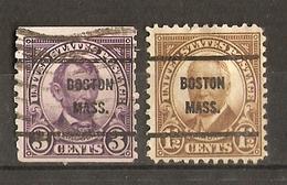 Etats-Unis -  Petit Lot De 2 Préoblitérés Boston - Massachussets - Sc 555 (roulette)/684 - Precancels