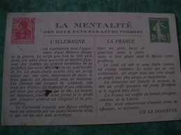 TRES RARE - CARTE POSTALE - LA MENTALITE DES DEUX ¨PAYS PAR LEURS TIMBRES. - Frankreich