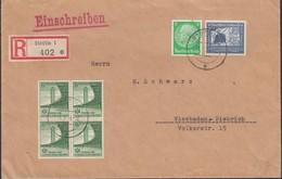 Registered Cover / Einschreiben Brief (MiNr. 515, 669, 666 MiF), STETTIN 12.3.1939 - Wiesbaden-Biebrich. - Lettres & Documents