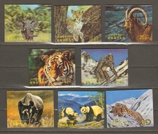 Bouthan 1970 - Mammifères - Petit Lot De 8 Timbres En 3D - MNH - Rhinocéros - Tigre - Panda - Eléphant - Guépard - Yéti - Bhutan