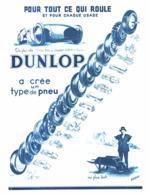 """PUB PNEUS  """" DUNLOP """"   1934 ( 2 ) - Autres"""