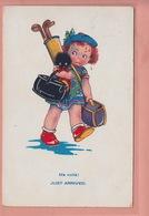OLD POSTCARD - CHILDREN - JUST ARRIVED - GIRL - GOLF - GOLLIWOG - Autres