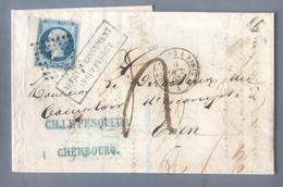 France, N°22 Sur Lettre De Cherbourg à Caen, Taxe 4, Affranchissement Insuffisant + Convoyeur - (B2265) - Postmark Collection (Covers)