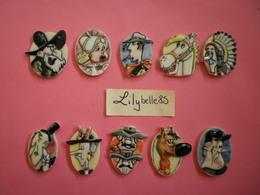 Série Complète De 10 Feves En Porcelaine - LUCKY LUKE MEDAILLONS 1996 ( Feve Figurine Miniature ) RARE - BD