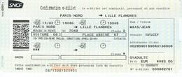 Ticket SNCF - Paris Nord - Lille Flandres - Chemin De Fer