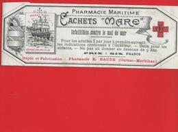 CARNAC MORBIHAN RAUDE  Pharmacien  ETIQUETTE Illustrée ANCIENNE PHARMACIE MARITIME Cachets Mare  CIRCA 1900 - Etiquetas