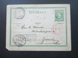 Niederlandisch Indien Ned. Indie Ganzsache 1886 Nach Zürich über Singapore Und Paris. Ra2 Ned. Indie Via Brindisi - Nederlands-Indië