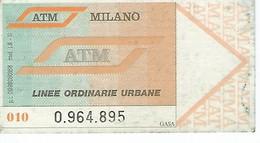 Ticket D'Autobus ATM Milano (Italie) - Transports
