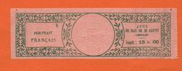 Fiscaux- Sur Jeux De Cartes (portrait Français)- N°5- Impot - 15.00 Frs - Vignette -12 X 4 Cms- Papier Pelure- Bon état - Revenue Stamps