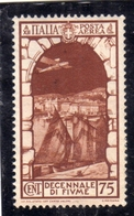ITALIA REGNO ITALY KINGDOM 1934 FIUME POSTA AEREA AIR MAIL CENT. 75 MNH - Luchtpost