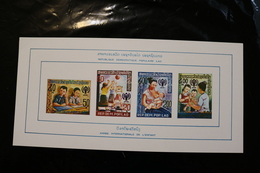 Laos Year Of The Child. Imperforate Mini Sheet Of 4 On Card Stock. Scott 310-11,313,315 1969 A04s - Laos