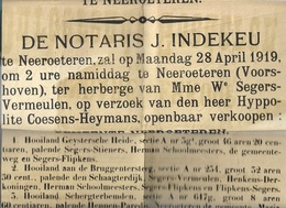 WO/   NEEROETEREN  AFFICHE PUBLIEKE VERKOOP 1919  DOOR COESENS HEYMANS - Documents Historiques