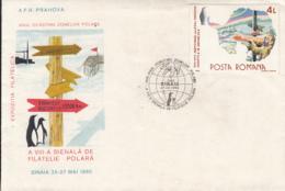 PRESERVE THE POLAR REGIONS, PENGUINS, POLAR BEAR, STATIONS, SPECIAL COVER, 1990, ROMANIA - Preservare Le Regioni Polari E Ghiacciai