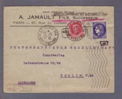 Lettre Jamault éditeur Paris114 22.02.1942 -> Berlin - Aff.à Complèter-Zensur/Censured/Censure  E Francfort/M. - Guerre De 1939-45
