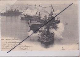 Villefranche (06) Visite Officielle à Bord De L'Escadre (carte Précurseur De 1902) - Villefranche-sur-Mer