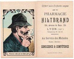 96Hs  Carte Publicitaire Jeu énigme à Trouver Non Fumeur à Chercher Pharmacie Hiltbrand Lyon - Publicidad