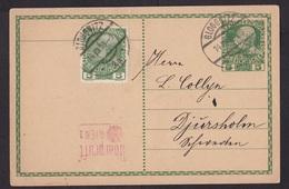 Austria: Stationery Postcard, 1916, Extra Stamp, Censored, Censor Cancel, World War 1, WW1, Gloggnitz (traces Of Use) - 1850-1918 Empire