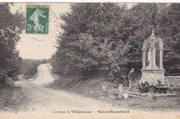 10. VILLENAUXE.  CPA. STATUE. DE SAINT BLANCHARD.ANIMATION.  ANNÉE 1908 + TEXTE  A DESTINATION DE ROMILLY - France