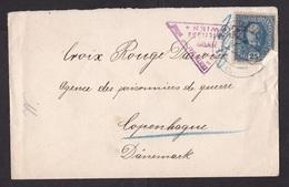 Austria-Bohemia: Cover To Red Cross Denmark, 1917, 1 Stamp, Censored, Censor Cancel, World War 1, WW1 (damaged) - Brieven En Documenten