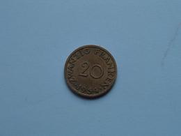 Zwanzig Franken ( 20 ) 1954 SAARLAND - KM 2 ( Uncleaned Coin ) ! - Saar