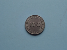 Einhundert Franken ( 100 ) 1955 SAARLAND - KM 4 ( Uncleaned Coin ) ! - Saar