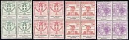 1924 ASSOC. BIBLIOTECHE BOLOGNA 5c-50c Komplette Serie Im 4-er Block; Sas Nr. 1-4; Euro 1550.- - 1900-44 Vittorio Emanuele III