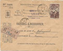 ENVELOPPE RECOMMANDEE VALEURS A RECOUVRER 1938 AVEC TIMBRE A 2 FR 15 MINEURS - Poststempel (Briefe)