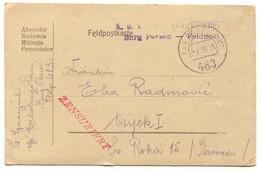 AUSTRIA HUNGARY WW1 - K.u.K. FELDPOST 483, BURG PERSEN ITALY FRONT, Year 1918. TRAVELED TO OSIJEK CROATIA - Guerre Mondiale (Première)