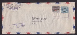 Venezuela: Airmail Cover To USA, 1947, 2 Stamps, Value Overprint, Cancel 'Via KLM' (damaged, See Scan) - Venezuela