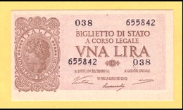 1 LIRA - ITALIA LAUREATA - DECR. 23 - 11 - 1944 - FDS - [ 1] …-1946 : Kingdom