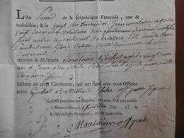 LETTRE DOUBLE MARQUE 46 MENDE MONTPELLIER EXTRAIT MORTUAIRE JEAN MOLINES SANS CULOTTES AN II 26 THERMIDOR 13/08/1794 - 1792-1815: Conquered Departments