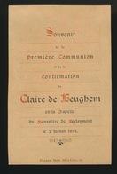 ADEL NOBLESSE  SOUVENIR D/L PREMIERE COMMUNION -   CLAIRE DE BEUGHEM - BERLAYMONT 1891  2 SCANS - Comunión Y Confirmación
