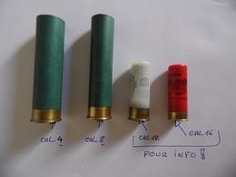 2  étuis Vides. Cartouches De Canardière En Cal 4 Et 8 - Decotatieve Wapens