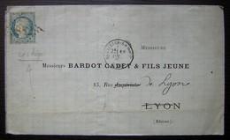 Saint-Vallier-sur-Rhône (Drôme) 1871 Lettre Pour Bardot Cadet & Fils Jeune à Lyon, Affranchi  20 Centimes Siège (N°37) - 1849-1876: Klassik