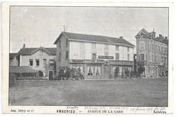 Cpa...Amberieu...avenue De La Gare...(hotel-Café)...1905... - Autres Communes
