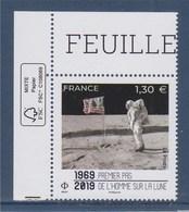 = Coin Premier Pas De L'Homme Sur La Lune Neuf Gommé 1.30€ Coin De Feuille Avec Logo éco - Unused Stamps