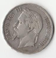 Monnaie 5 F Napoléon III 1869 BB - France