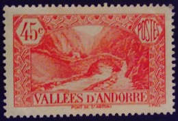 Andorre Andorra 1932 Paysage Landscape Pont Bridge Yvert 34 * MH - Ungebraucht