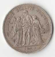 Monnaie 5 F Argent Hercule 1875 A - France