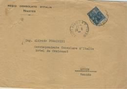 France - 1929 - 50c Jeanne D`Arc, NANTES-LUCON - REGIO CONSOLATO D'ITALIA,NANTES - - Storia Postale