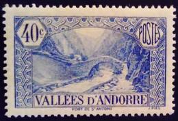 Andorre Andorra 1932 Paysage Landscape Pont Bridge Yvert 33 * MH - Ungebraucht