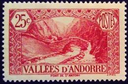 Andorre Andorra 1937 Paysage Landscape Pont Bridge Yvert 61 * MH - Ungebraucht