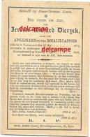 Doodsprentje Jerome Dierynck Voormezeele 1871 En Overleden Te Antwerpen 1898 Cappoen Hollebeke Wijtschate Messines - Devotieprenten