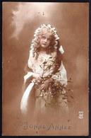 SUPERBE CARTE PHOTO MONTEE -  JEUNE FILLE - FILLETTE - YOUNG PRETTY GIRL - Voyagée 1914 - Abbildungen
