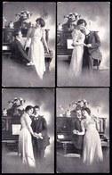 6 X  CARTE PHOTO MONTEE -  COUPLE AVEC PIANO - Voir Scans - Couples