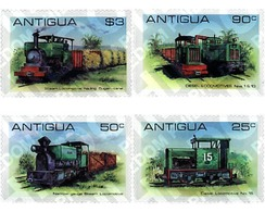 Ref. 60374 * MNH * - ANTIGUA. 1981. LOCOMOTIVES AT THE SUGAR CANE INDUSTRY . LOCOMOTORAS EN LA INDUSTRIA DE LA CAÑA DE - Trains