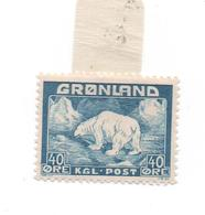 GROENLAND - 1938/46- Série Courante   - N+ Charnière - 40 Cts  Bleu (ours)-  Cat Yvert-n° 8   Voir Scans - Greenland